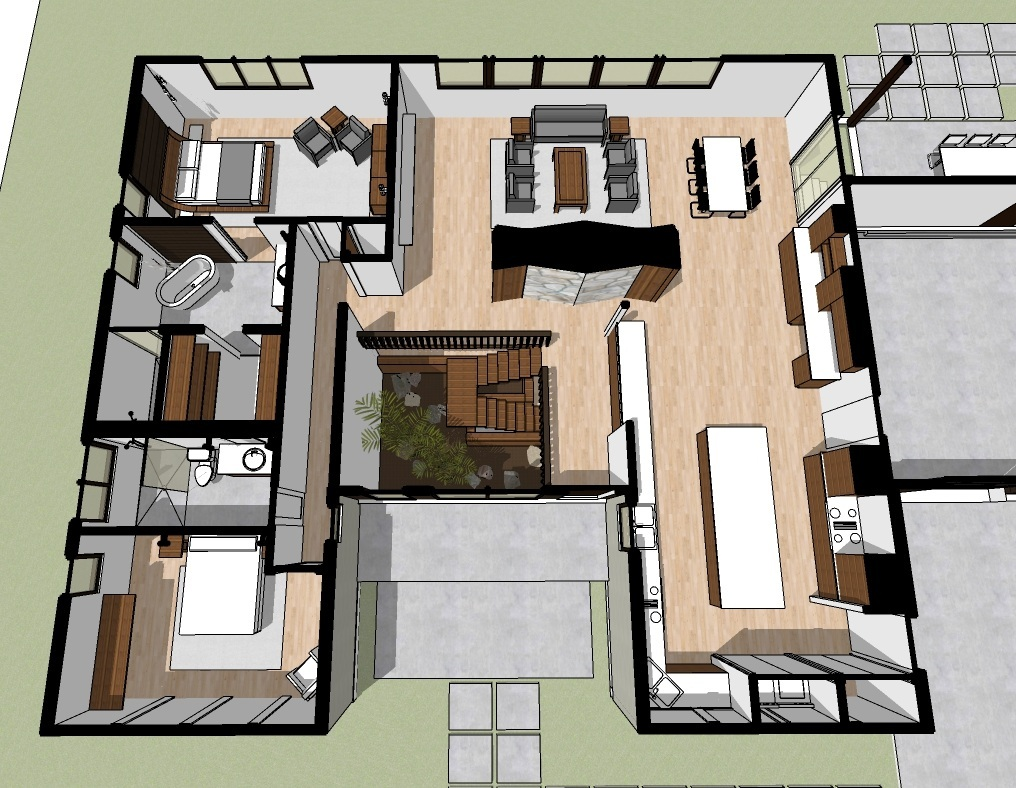 Proposed redesign with addition of guest bathroom and re designed MASTER BATH