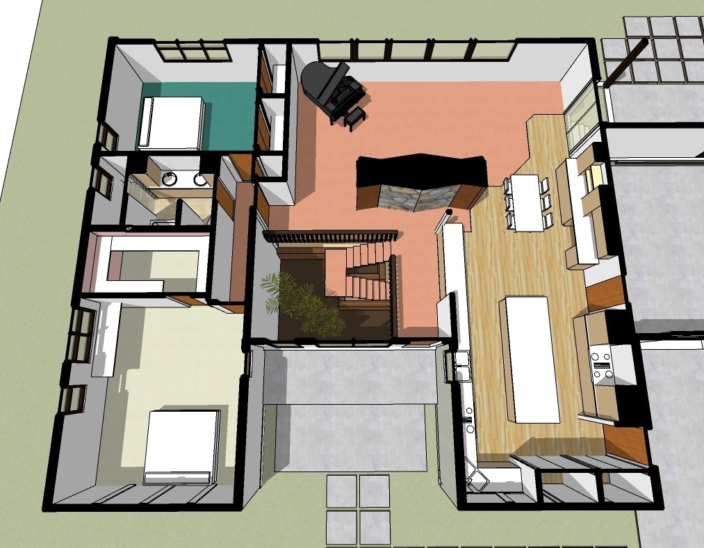 Existing layout and mismatched flooring