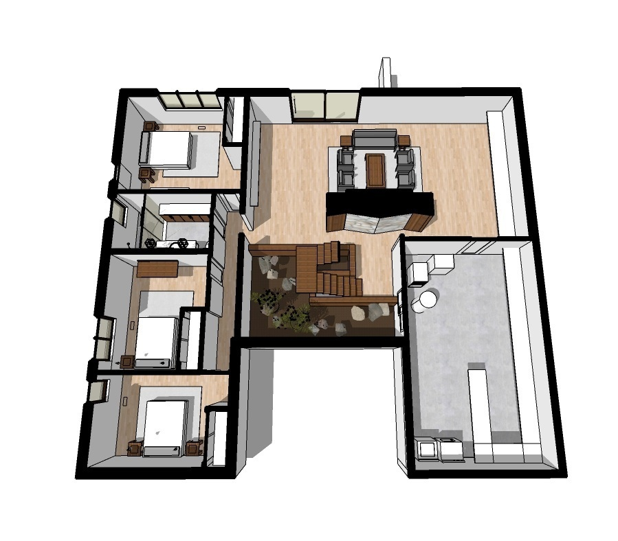 proposed redesign for lower level. including additional bedroom