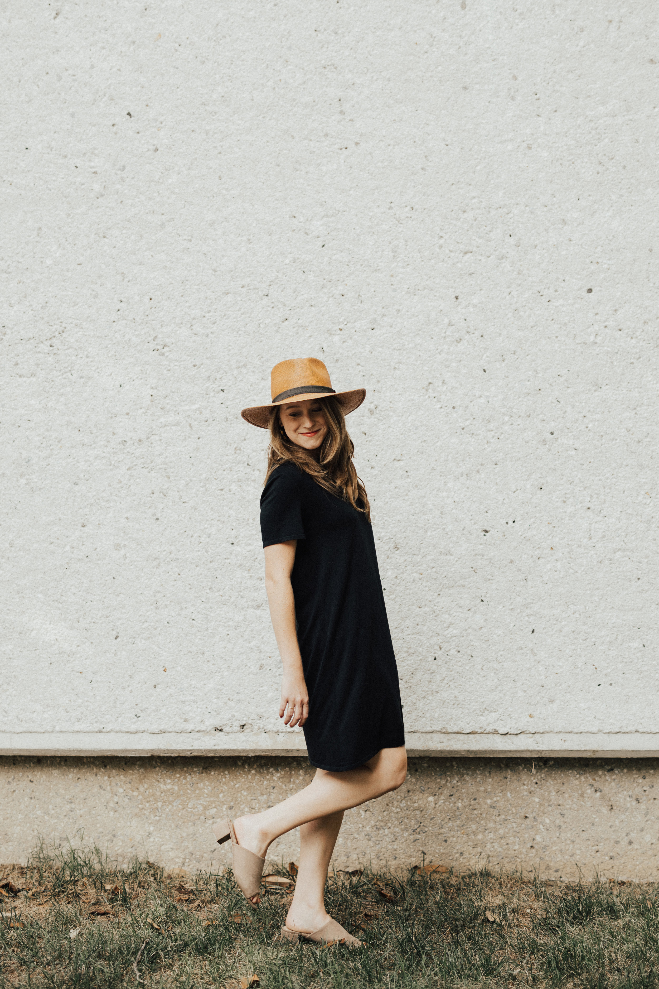 A few of my favorite pieces together - the Equal Uprise Woven Hat + Thread Co. Custom Shirt Dress.