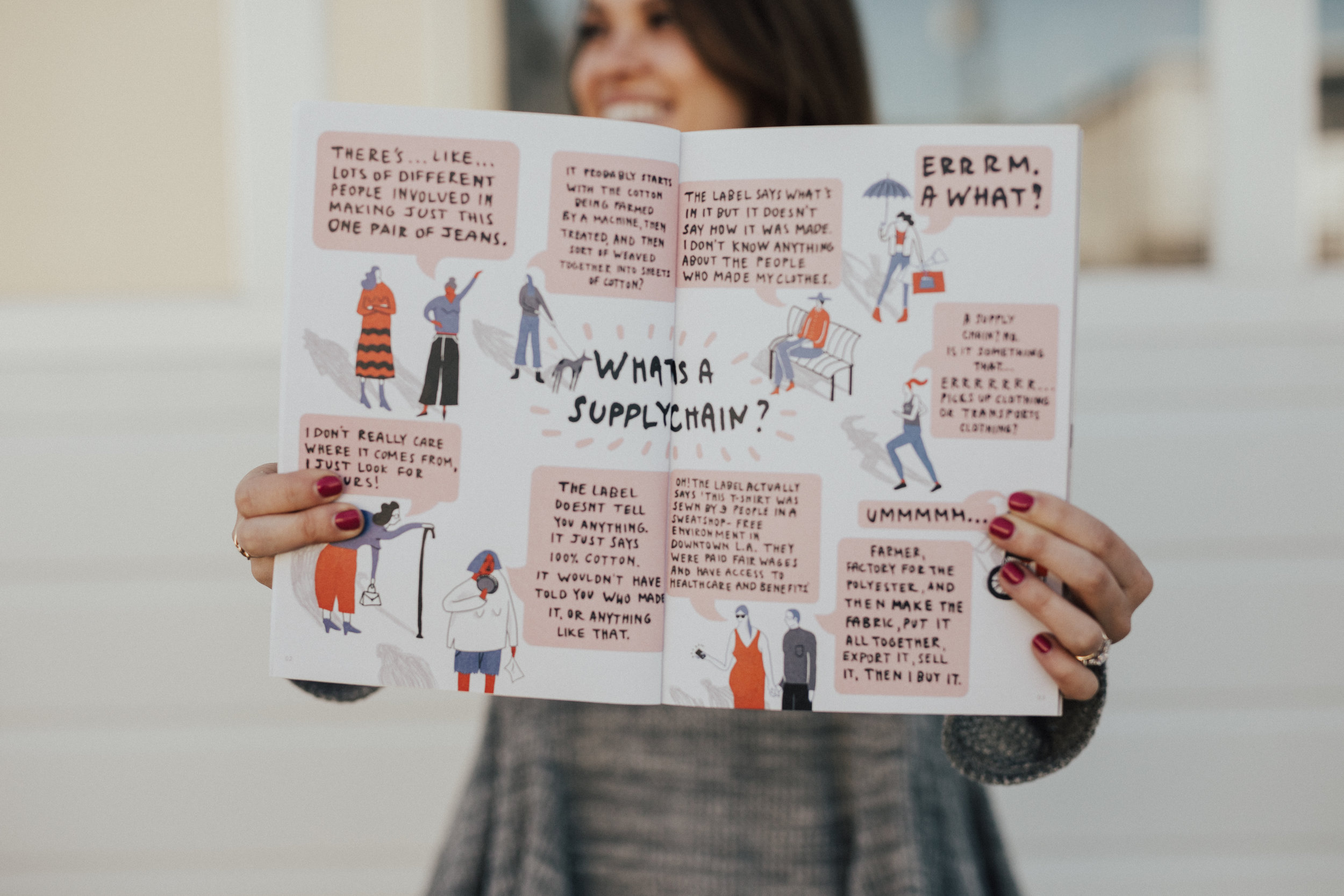 From the first Fashion Revolution magazine, this shot features an infographic on the Supply Chain in the fashion industry - it makes up the manufacturing, sourcing, creation, distribution , people, materials, behind the items we wear. Each company has one and it makes a big impact on the ethics behind the brand!