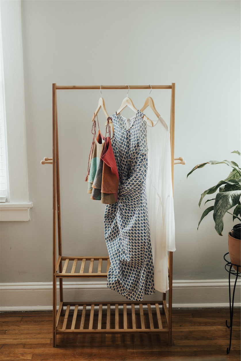 A garment rack shot of favorite pieces from Richmond's Verdalina. Shopping local and responsible styles in one!