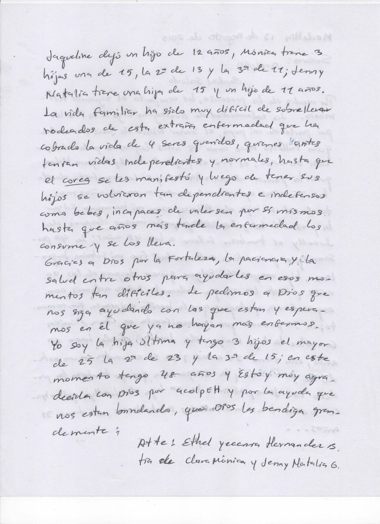 Carta de Yesenia Hernandez hermana de Yenny Natalia y Monica Gonzales Hernández 2