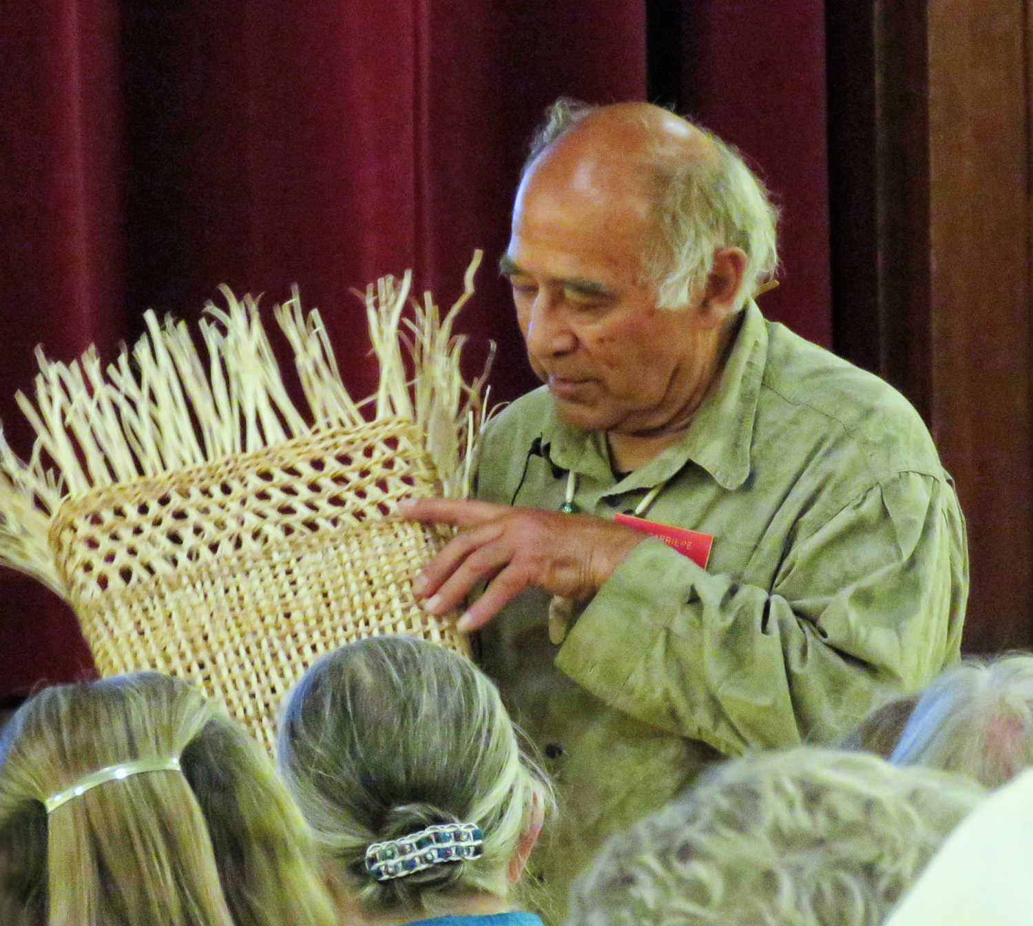 Master Basket Maker Ed Carriere presents Salish Sea basketry. Photo by Diane Woods