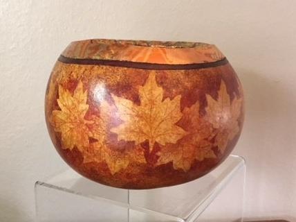 Fall Leaves Resist Painting on a Gourd.jpg