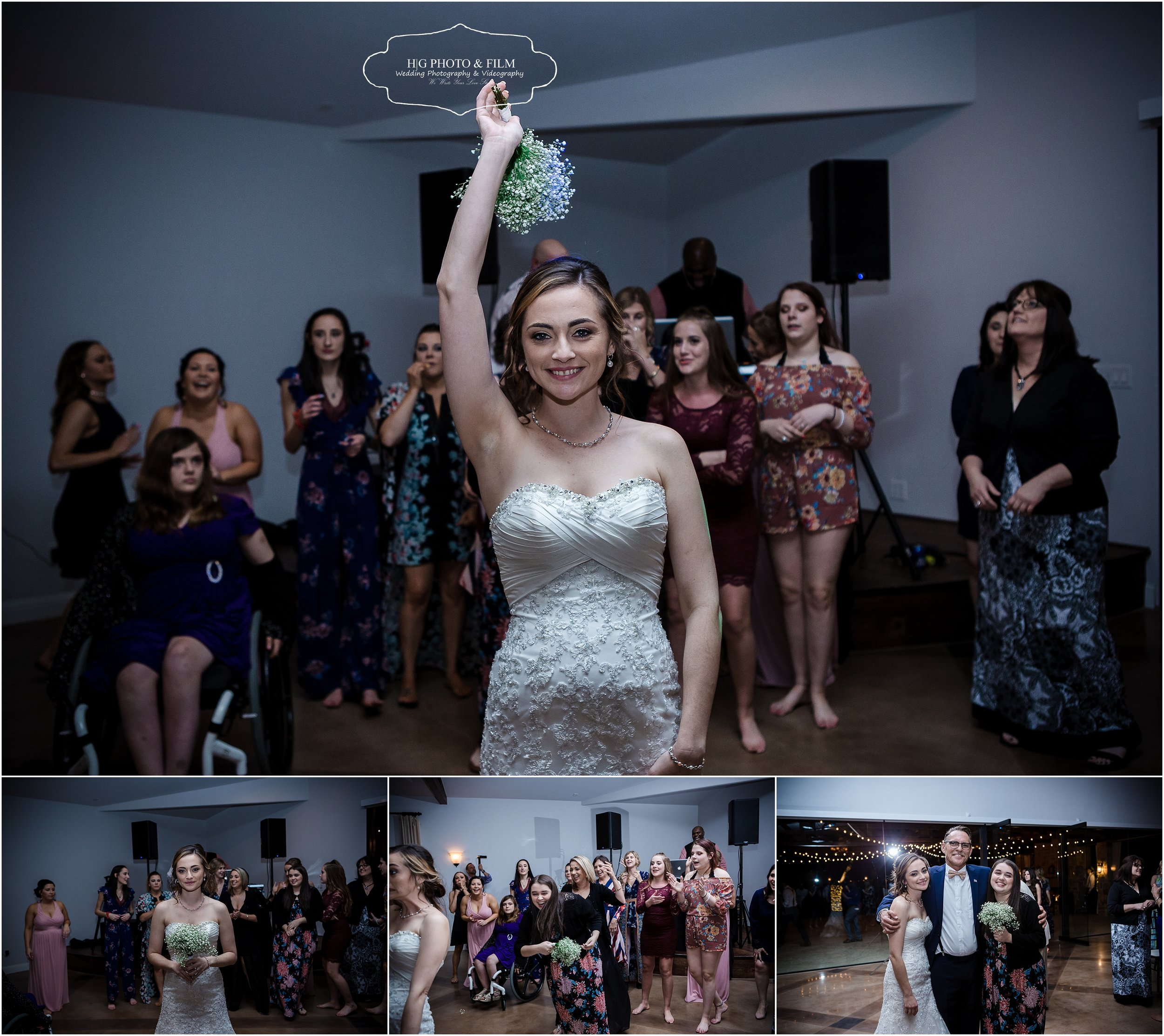 Bouquet toss, so fun when sister catches it