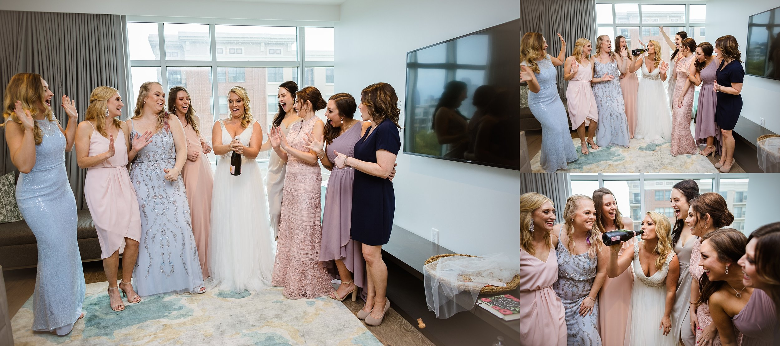 Love the different dresses and popping champagne!
