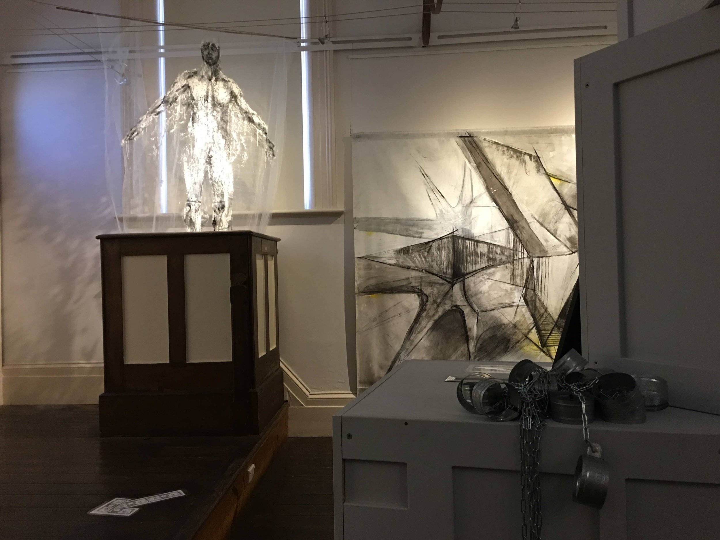 Works by Emilijia Kasumovic (left) and Jelena Voijnuvic (middle background), The Colony, 2019