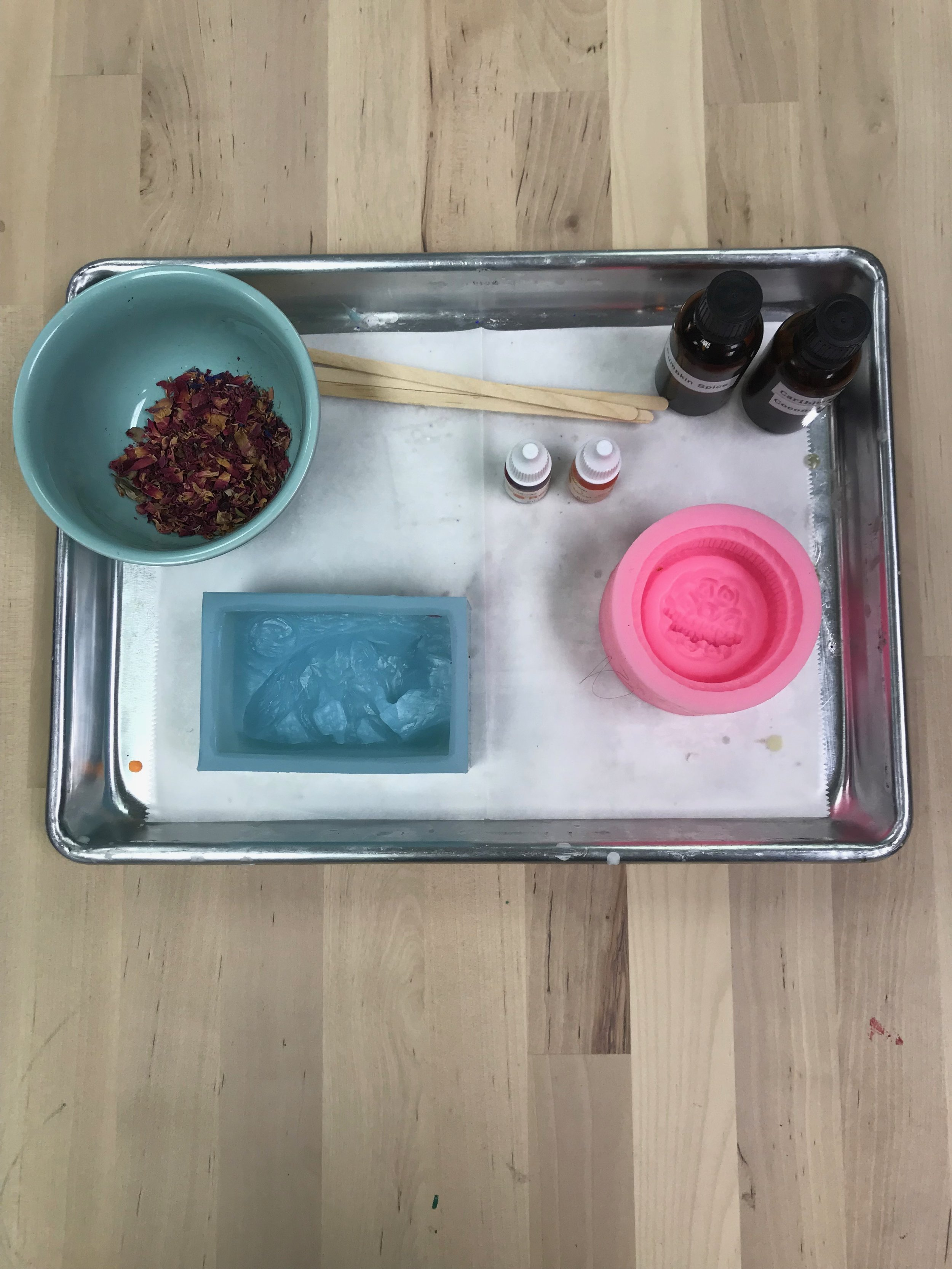 Soap Making Classes during our arts & craft classes for girl scouts