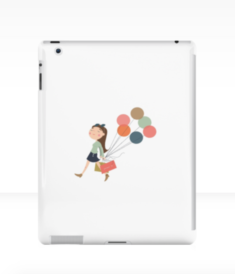 """Shopping Girl"" can be found on this iPad case in my shop on  RedBubble ! It also comes as a sticker,  notebook, laptop skin, etc."