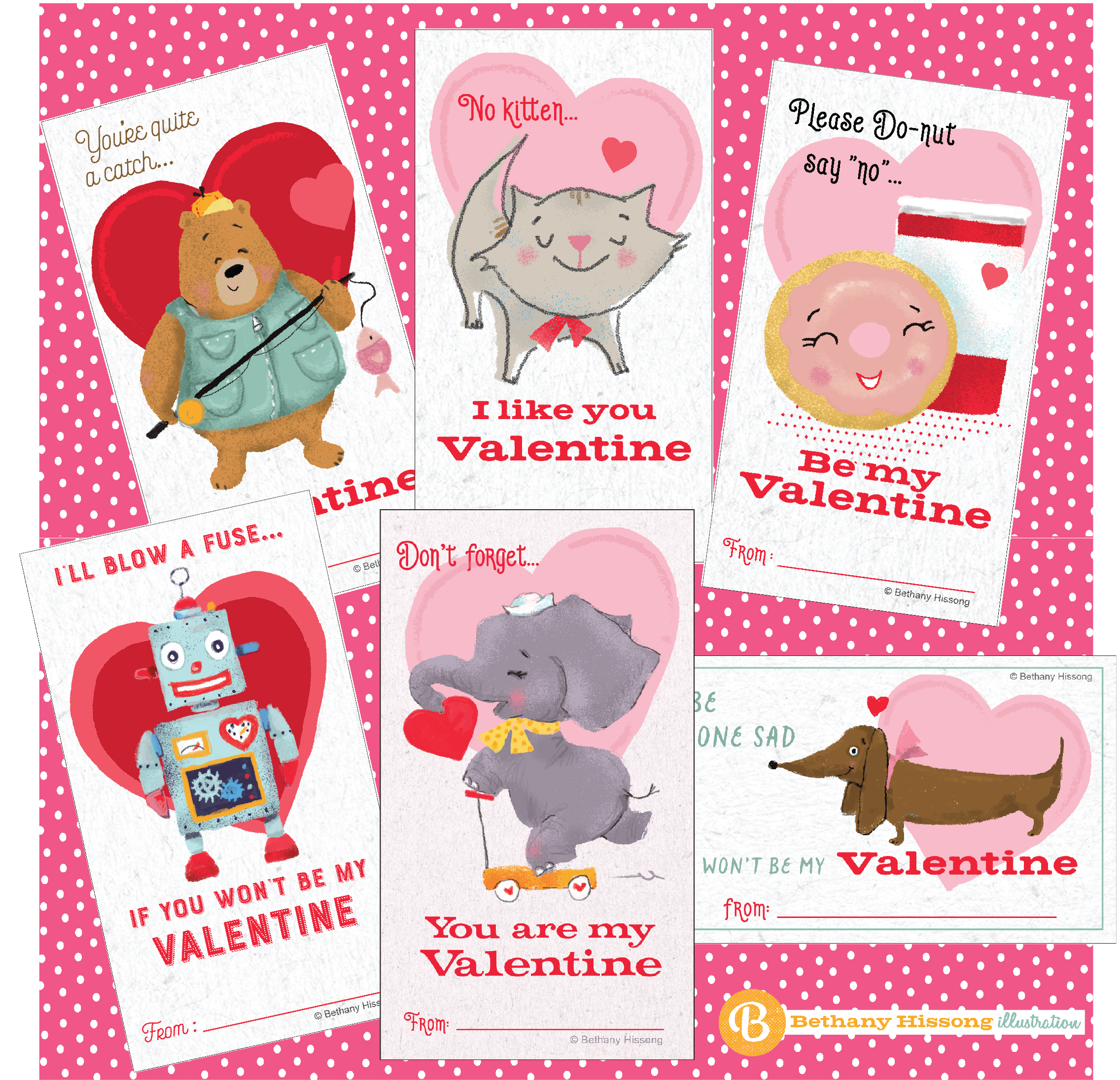 Retro looking Valentine's Day card set available in my  etsy store  through the end of February!