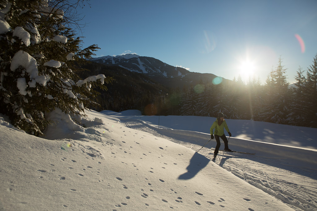 The Vision: Capture new xc skiing images in beautiful light with mountains in the background. The Challenge: Creating warm looking and inviting images while we were battling -20C weather.