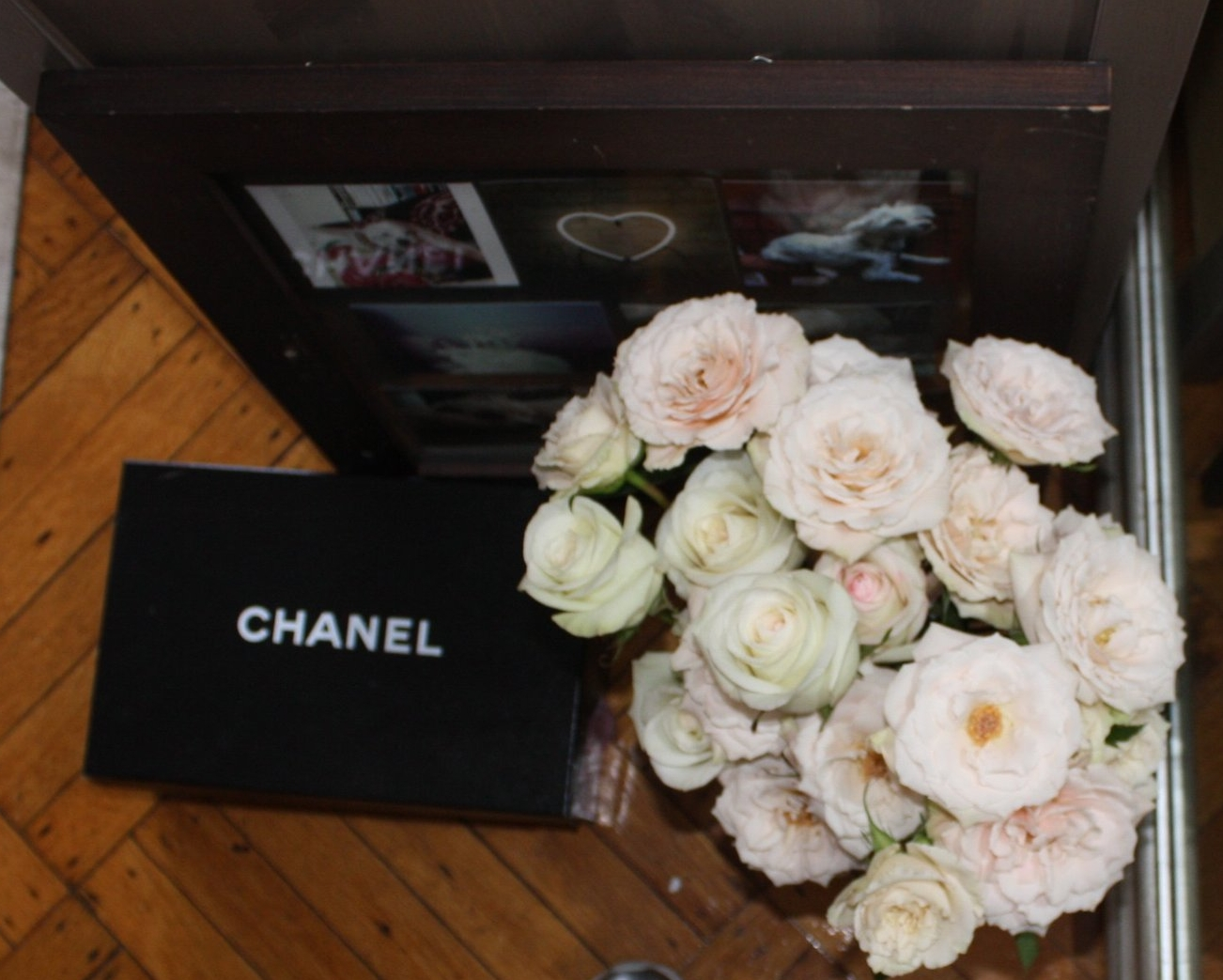 chanel shoe box with flowers