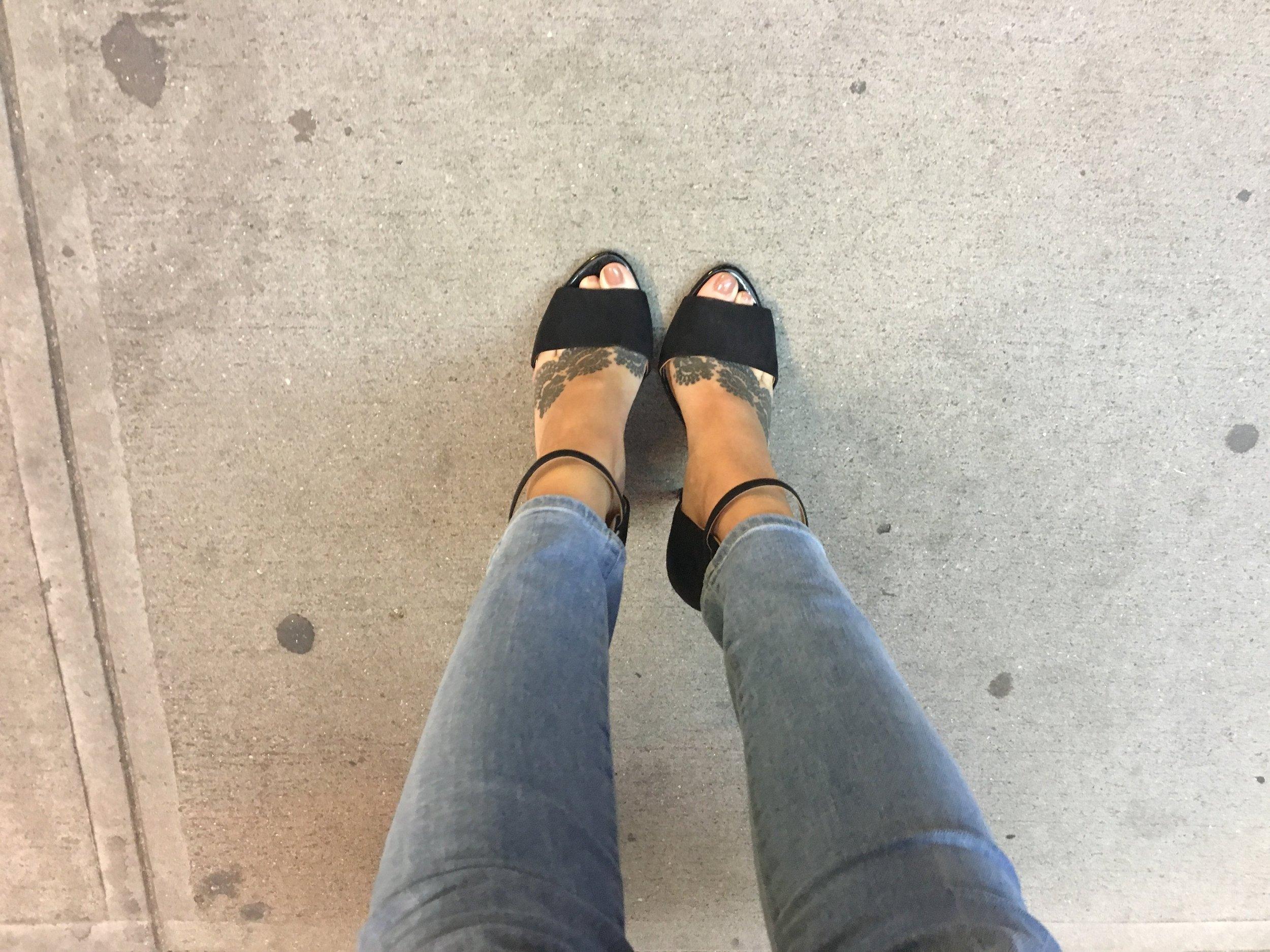 black heels, feet tattoos