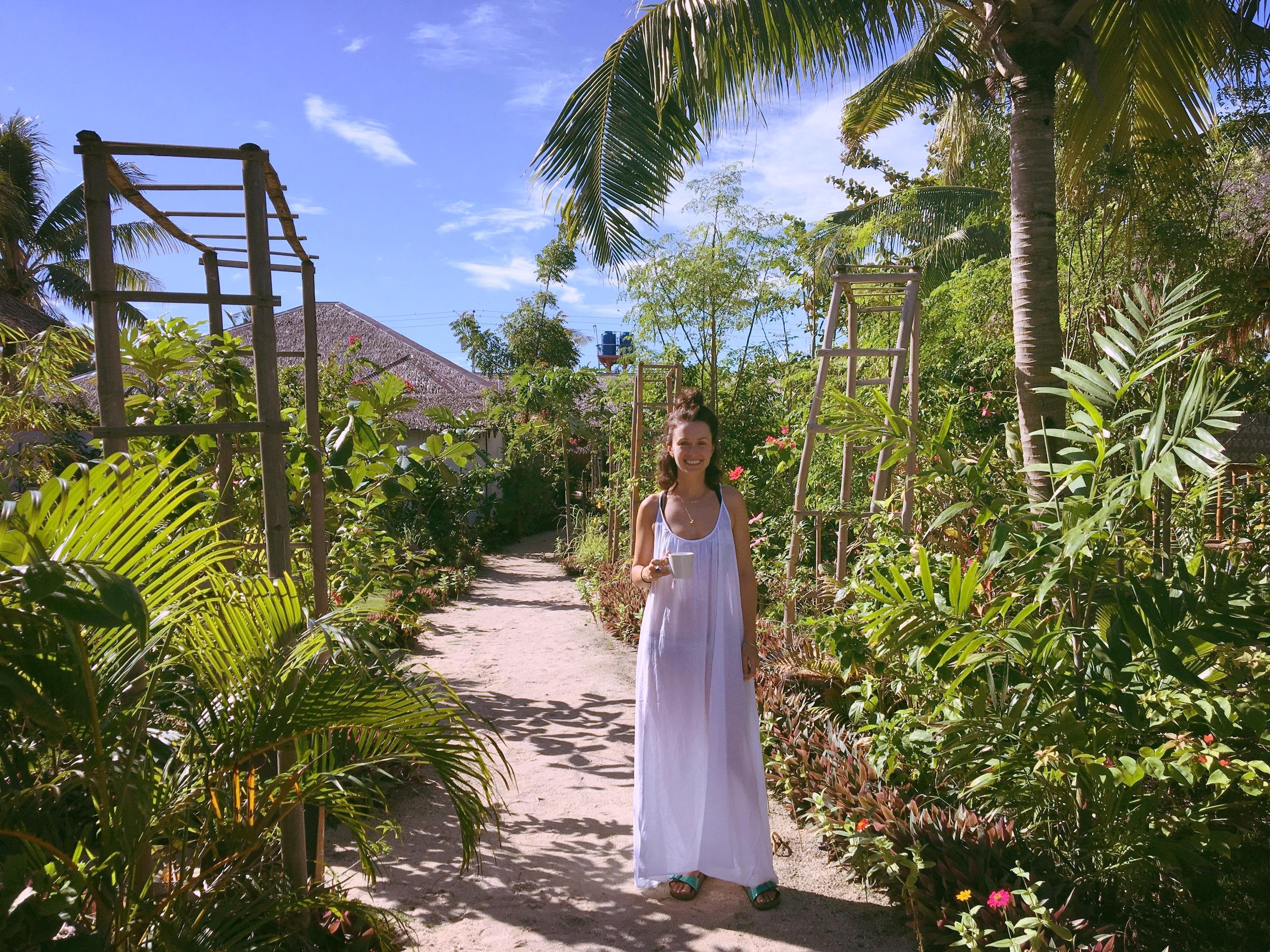 white dress with tea