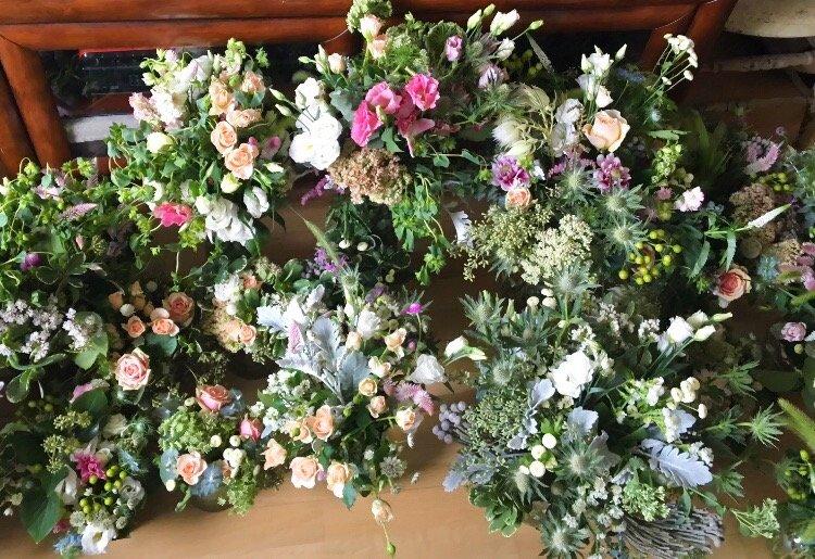 wedding flower prep