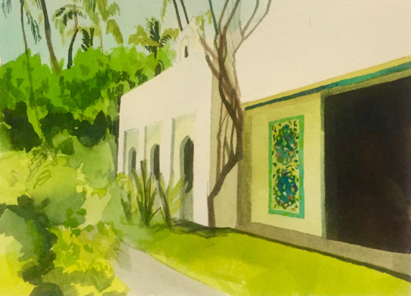 Shangri La, 2016, watercolour on paper (private collection)