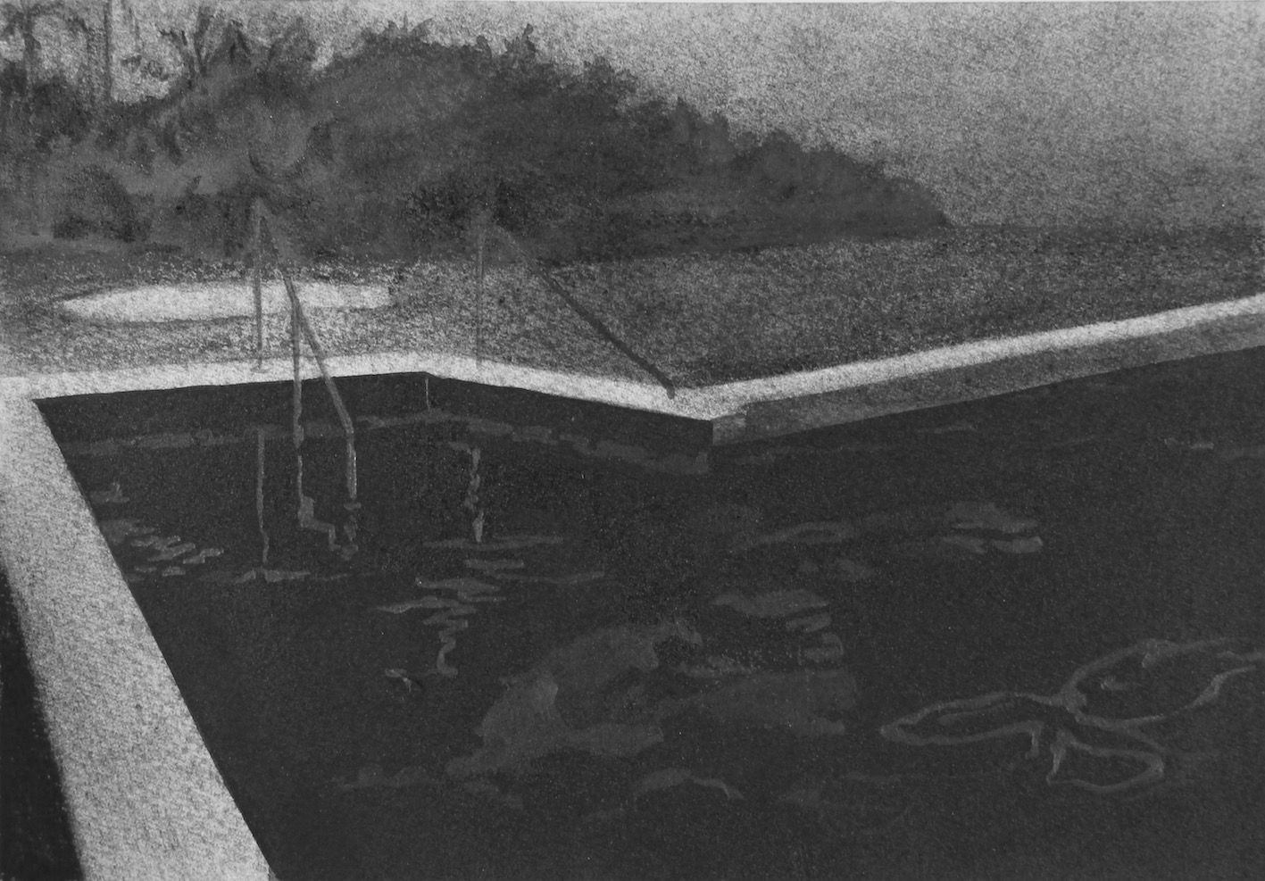 Tranquil Retreat II, 2016, charcoal, graphite and ink on paper