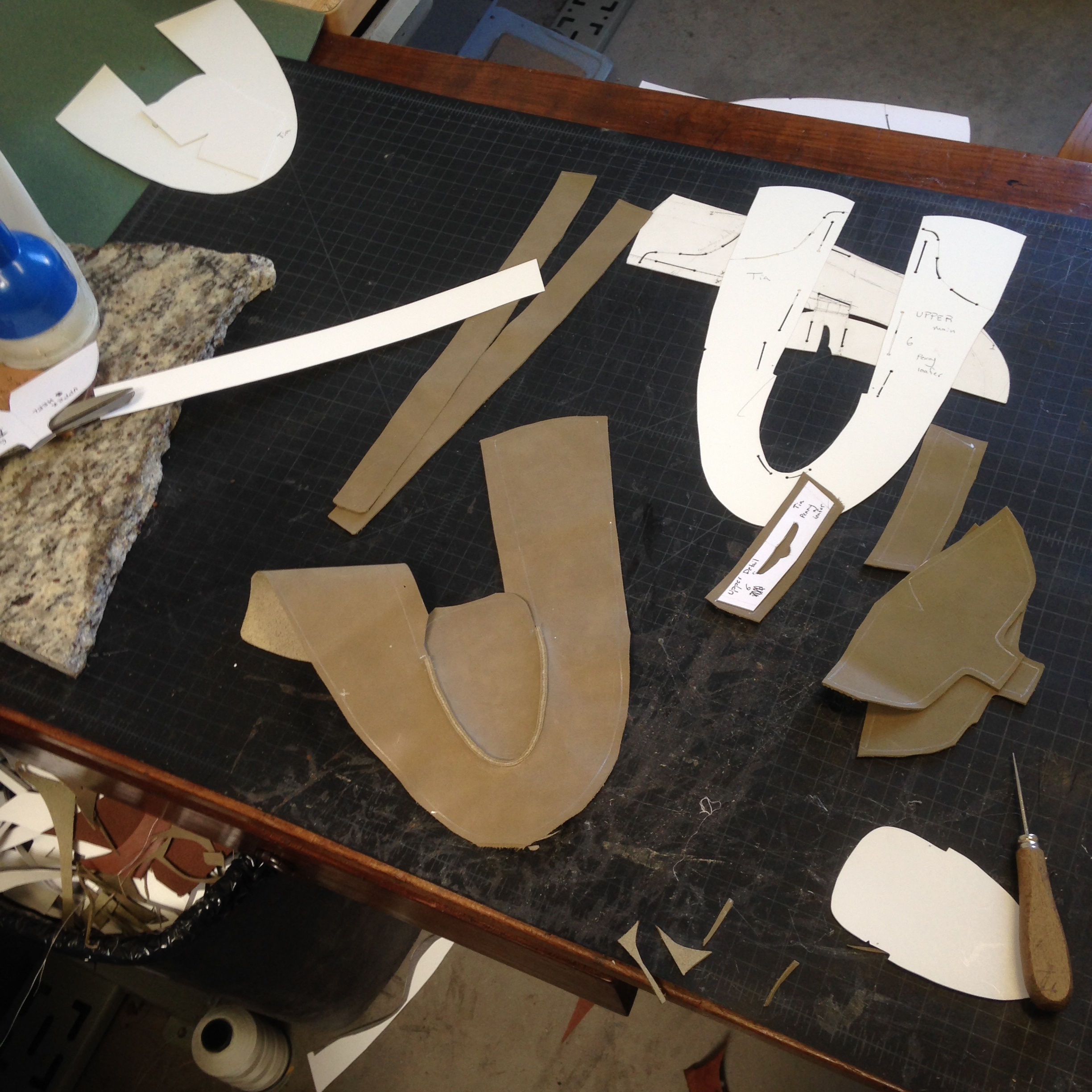 Cutting and stitching uppers