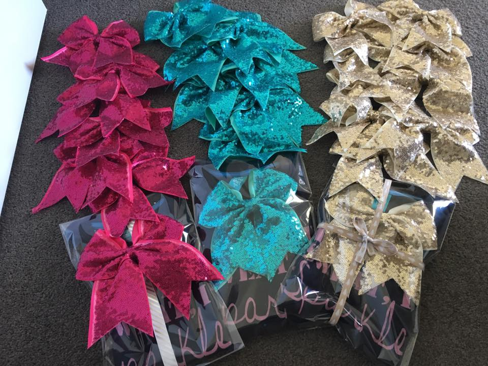 Sparkly Bows (Pink, Teal, Gold) $10
