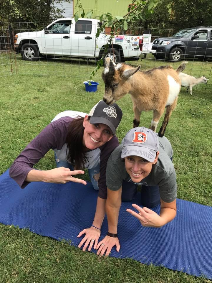 Jamie and Sasha showing the peace, love, and happiness that is produced at Shenanigoats. Photo provided by: @NashvilleMeg