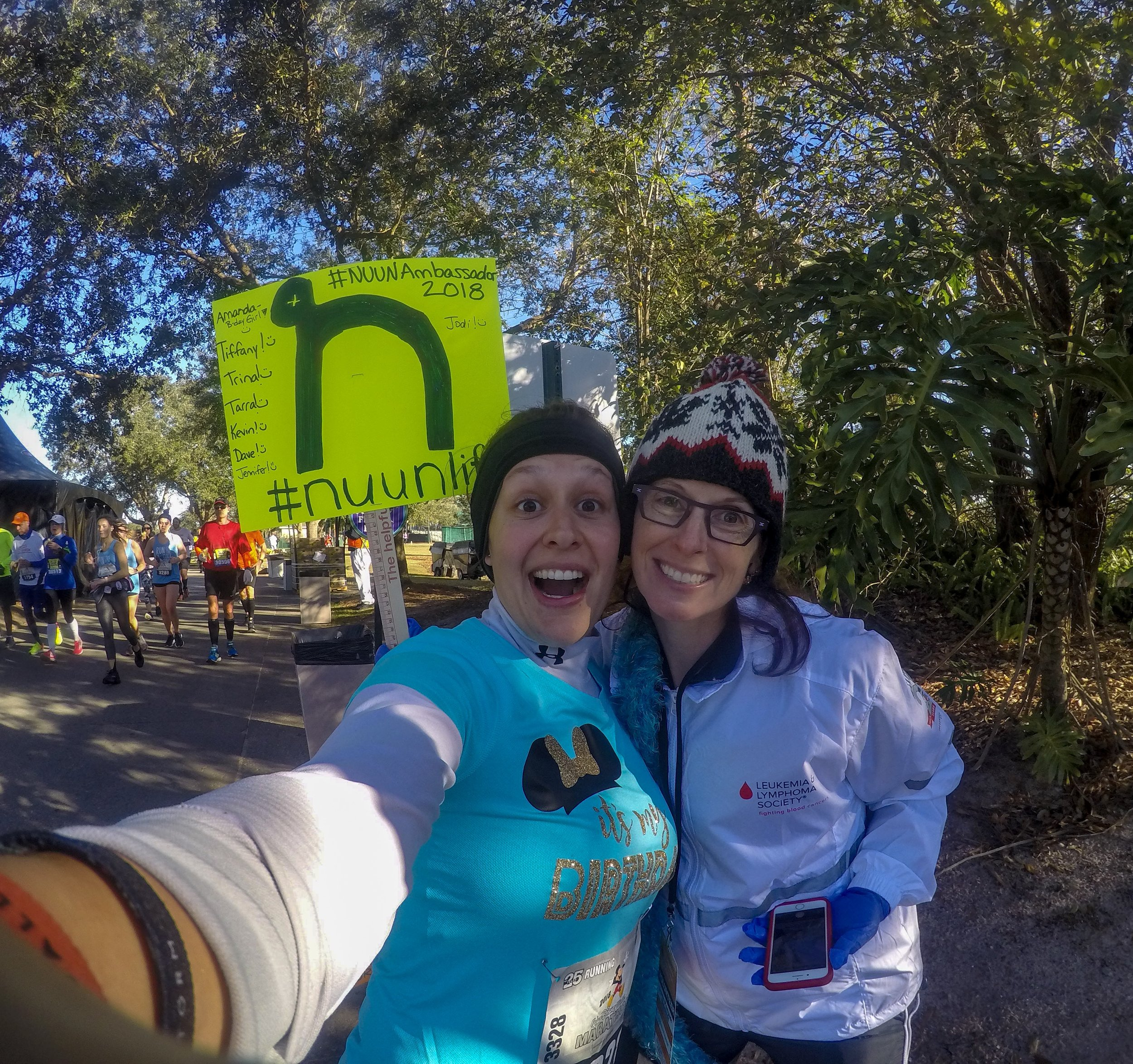 At around mile 19 I ran into fellow Nuunbassador, Lynn (@yogalynnruns) who was volunteering at the hydration station. It's incredible what meeting a stranger who is also a huge fan of running, and your sport drink of choice Nuun, can do for the runner hitting the wall. She had added my name to the team sign and it was just such an incredible experience to get to share a moment of comraderie in the middle of a race. And at the end of the day, without Honey Stinger gel and waffles to fuel me and Nuun to keep me hydrated, I would not have been capable of crossing the finish line an entire 30 minutes faster than Chicago just three months prior.
