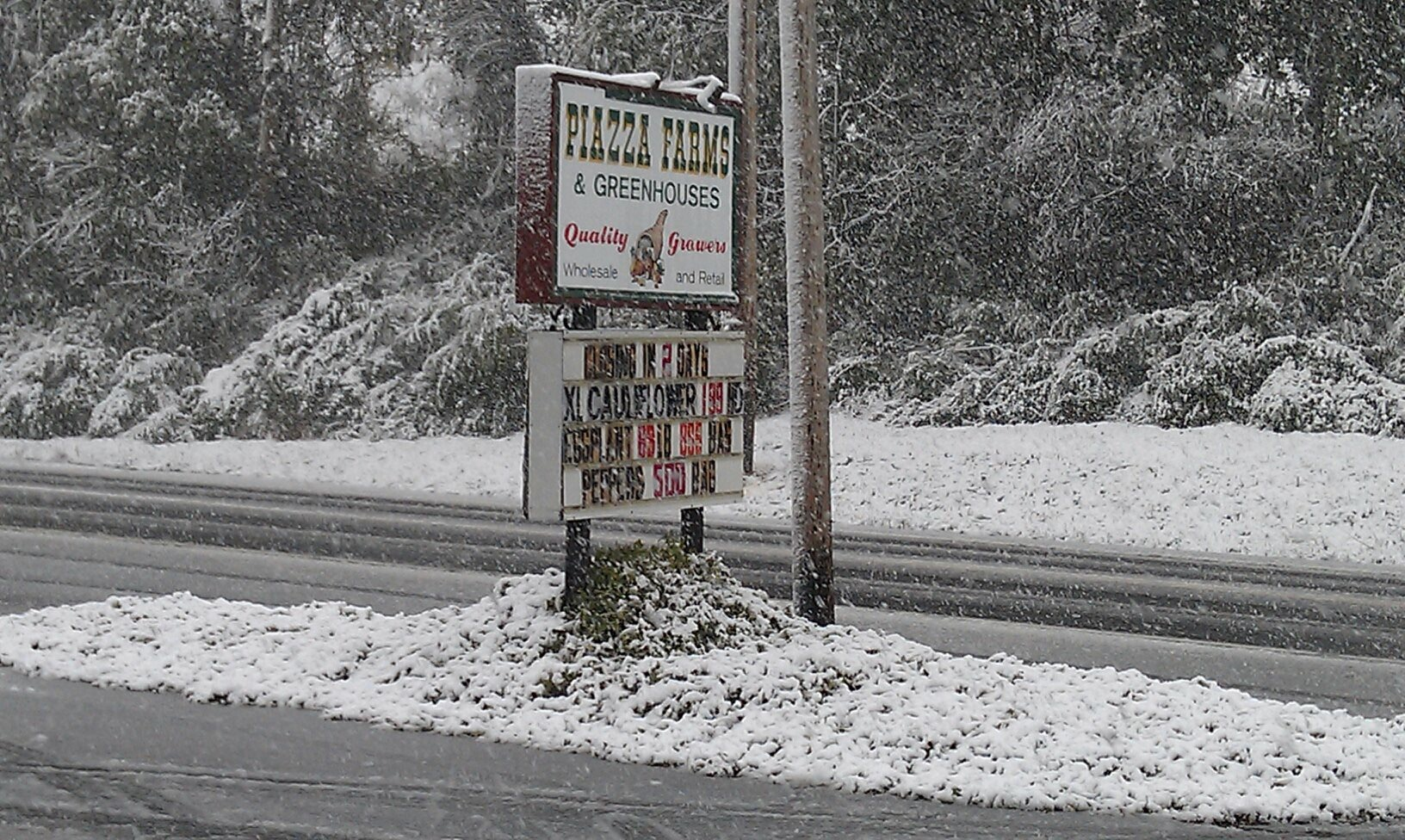 The one year I saw snow while we were still open. October 29, 2011. Whatever the weather is doing it's the wrong kind.