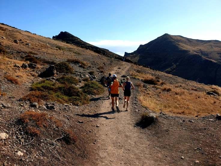 Paul and Marisha running along at Ponta de St Lourenco Peninsula