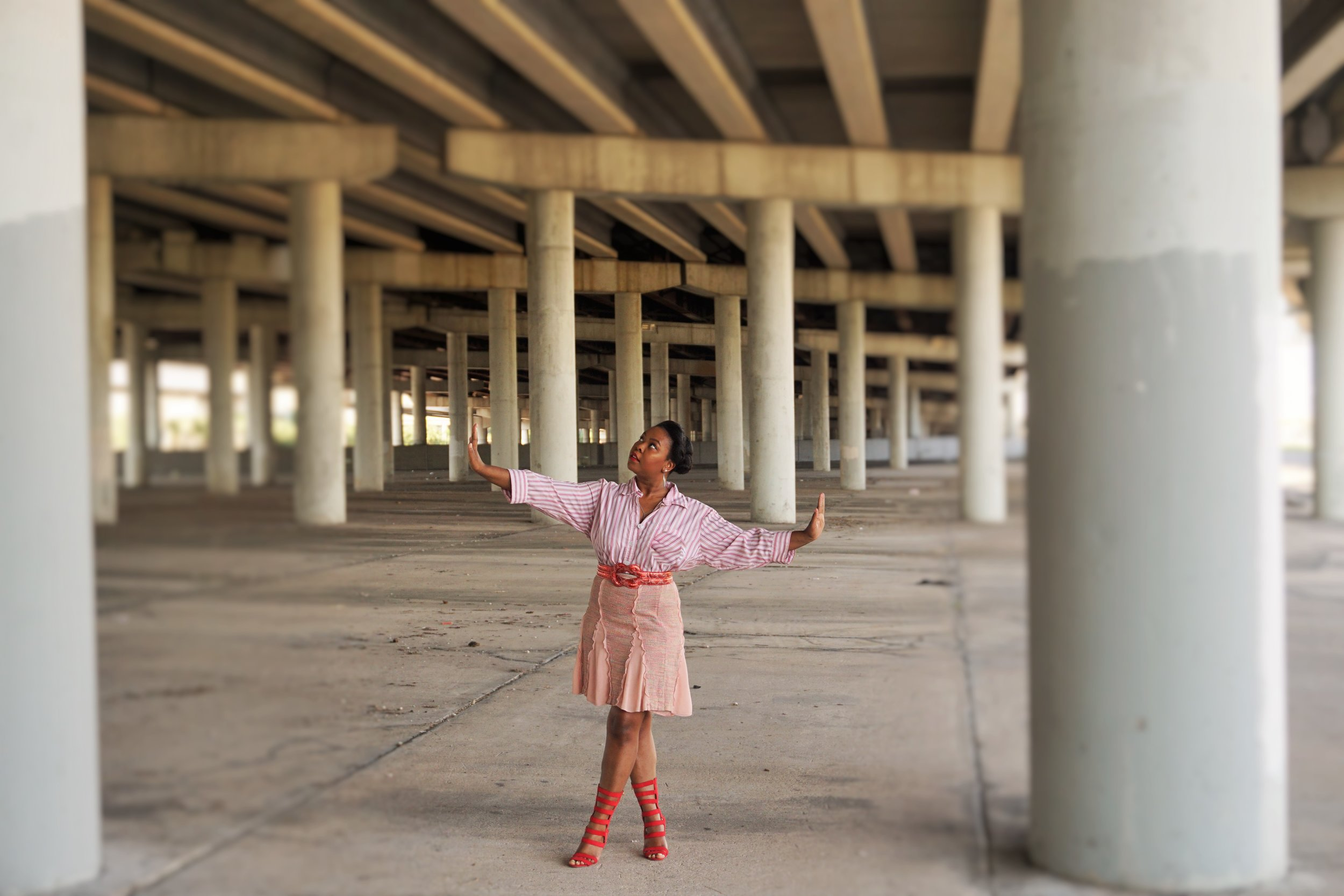 Scarlet - Location: I59 at Hilcroft/ McCue Road Houston, TXTop: Anne Klein (Thrifted)Skirt: BCBGBelt: Discovery ClothingShoes: Just Fab