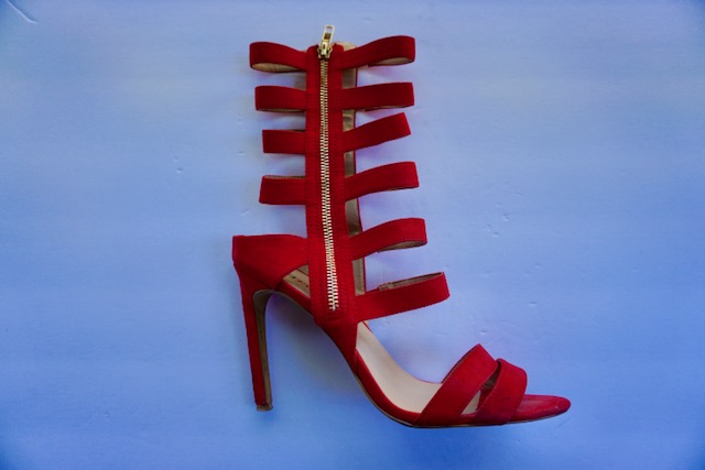 Red & Strappy - My go to heel! Every girl needs a scrappy heel and the Red makes for a great match with a red lippie!Also I absolutely love the Gold zipper detail being showcased on the outside of the shoe.That little detail wins me over every time!