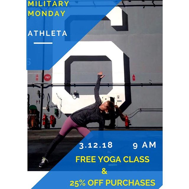 📣San Diego📣!!!!! @Athleta: Westfield UTC, is hosting their first Military Monday, this Monday! 🇺🇸 Your Co-founder , Anna, of @thepowertrippers will be parterning with athleta by leading a free yoga class at 9 am! ......That's not all ! Treat yourself to 25% off your final price, all day! 🇺🇸 Share this post or tag your military friends and family! *bring your mat and ID  #military #marines #airforce #army #navy #treatyourself #yogainspiration