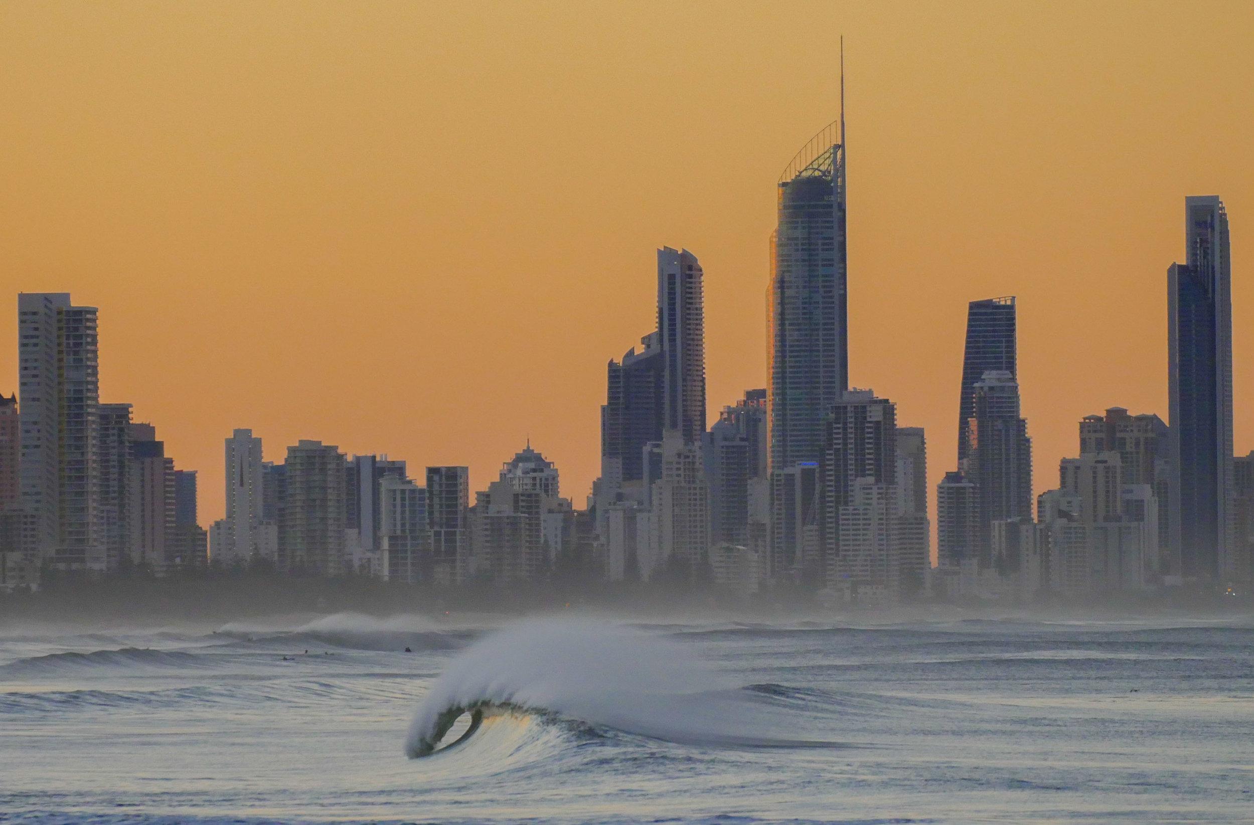 Gold Coast Skyline with amazing surf