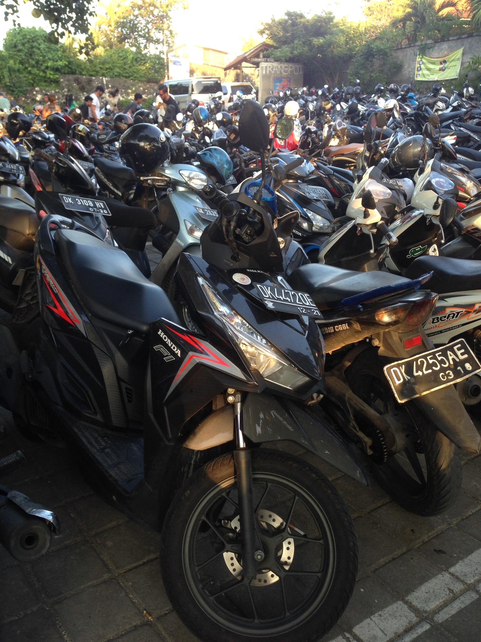 Bike parking at Single Fin in Uluwatu