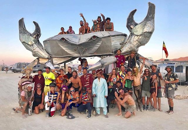 "Camp Happy Hour - What a year! The whole team absolutely smashed it this year!  Was awesome to have such an awesome camp 7 years strong! See you next year! #campcrappyhour #crabbyhour #crab #burningman2018 #decapod - ""Another year, another tear."" This place will chew you up and spit you out... 🦀"