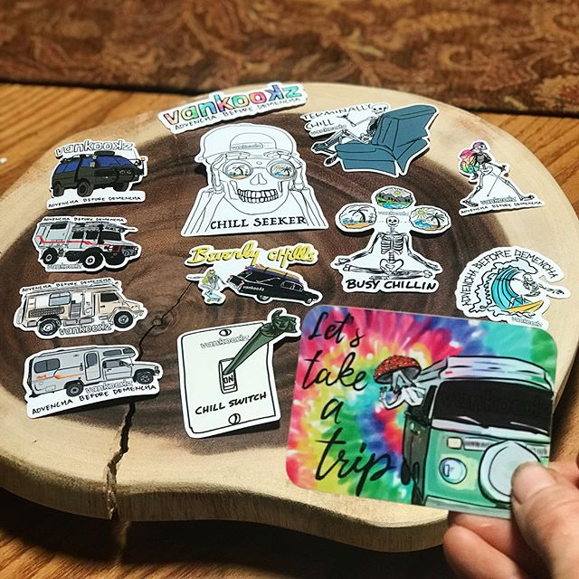 """*STICKER GIVEAWAY* Happy new year everyone! After the holiday craziness, my new stickers finally arrived and I want to give some to some of you! Let's be real, I make these to give them away to people we meet, like little burningman gifts 🎁 . . I have 3 different packs on the Vankookz.com website for sale if you just must have them 😉 If you want a chance for you and a friend to get a **FREE** sticker pack... : 1. Go follow our #vanlife page @vankookz  2. In the comments of this picture, tag a homie or two that you think would want a pack  3. And, tell me out of the emoji choice below (or by their name in quotes) which ones are your favorites out of: . : 🌊 the """"Advencha"""" pack, . 💆🏼♀️ the """"chill"""" pack, . 🚐 the """"rig envy"""" pack. . (you can swipe ➡️ to see the different pack combos) .. : That's it! We will draw a random winner out of a 🎩 at the end of this weekend and sticker packs will go out Monday to the winners! . . .  #vanlife #stickers #rigenvy #art"""