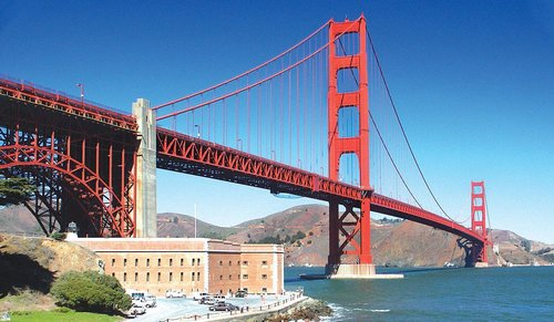 The iconic Golden Gate Bridge seen here from Fort Point in San Francisco is one of the many sights you can explore