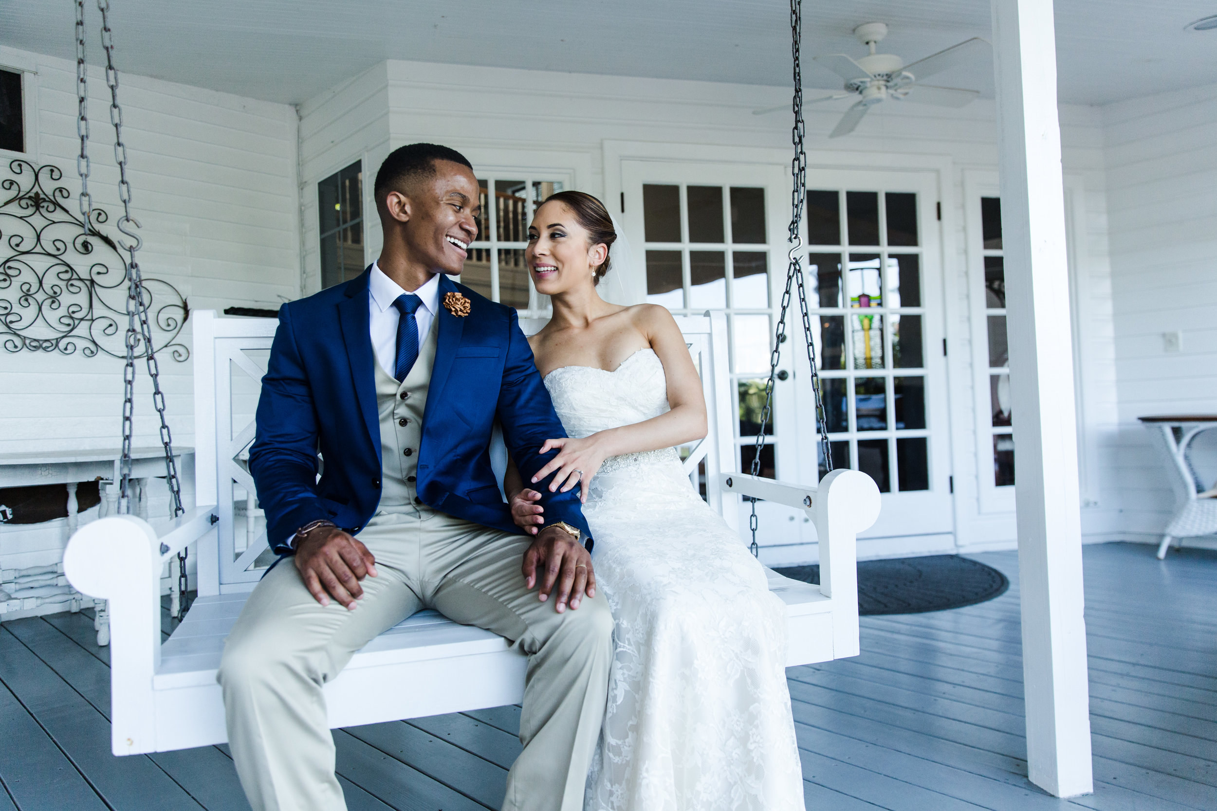 A wedding, engagement, love, newlywed image of a bride in her wedding dress at an Estate-taken by Miami Wedding Photographer, Javier Edwards of El Roi Photo, in Miami, Florida, for a Miami Wedding