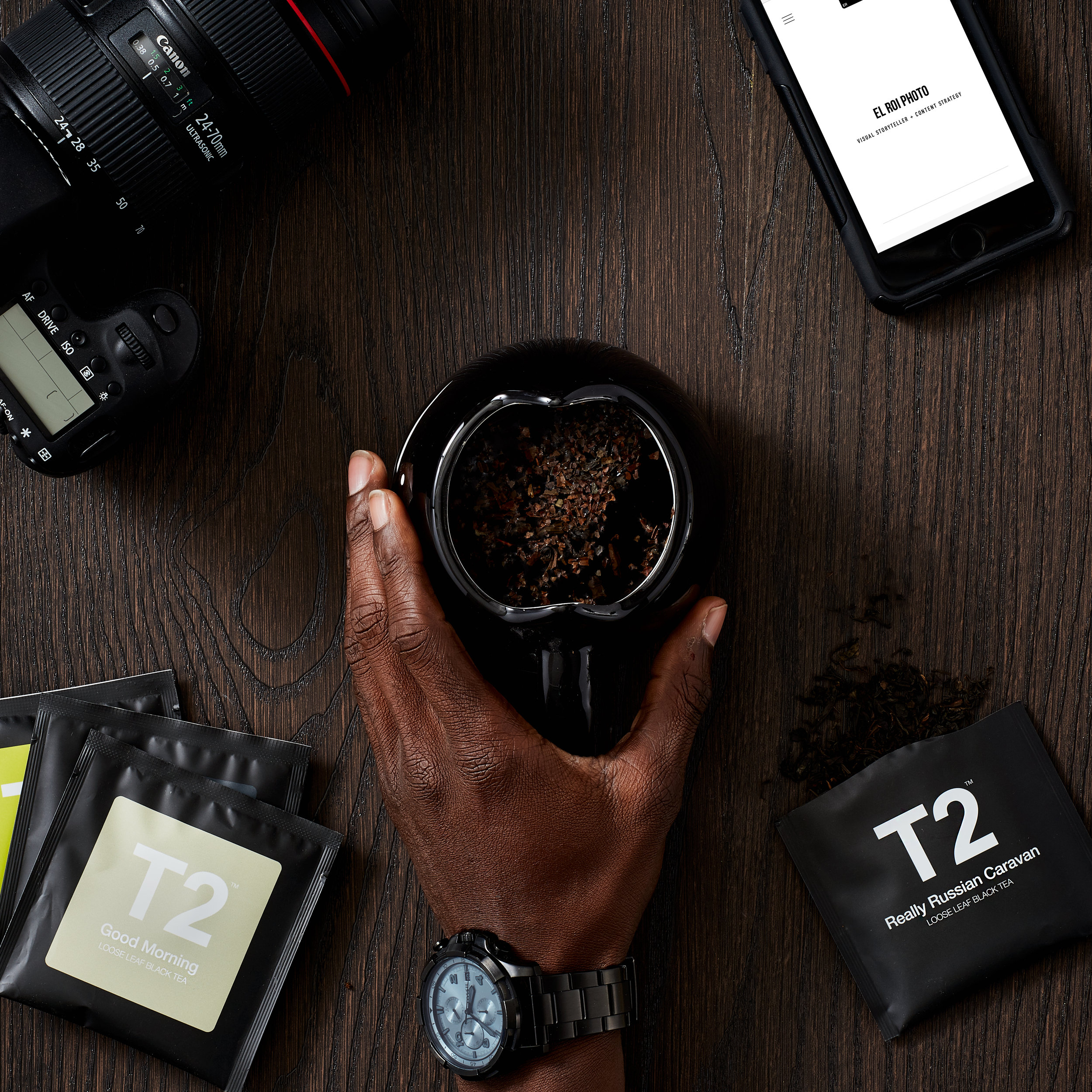 Commercial, table top, social media, influencer brand photo for T2 Tea, Canon, Fossil Watches - taken by Javier Edwards