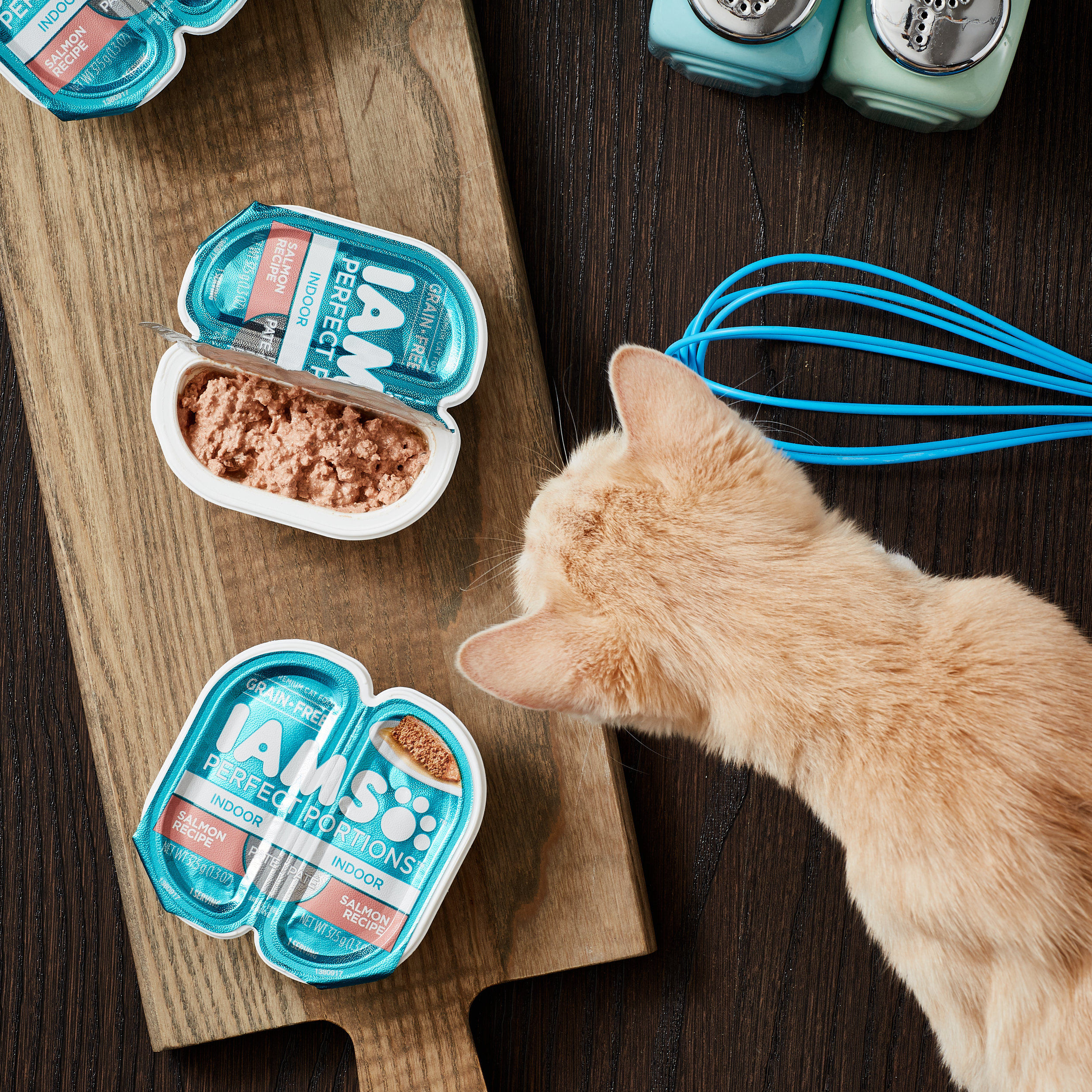 Lifestyle, Commercial, Studio product image taken of Iams Perfect Portions Wet Cat Food. Image by Javier Edwards