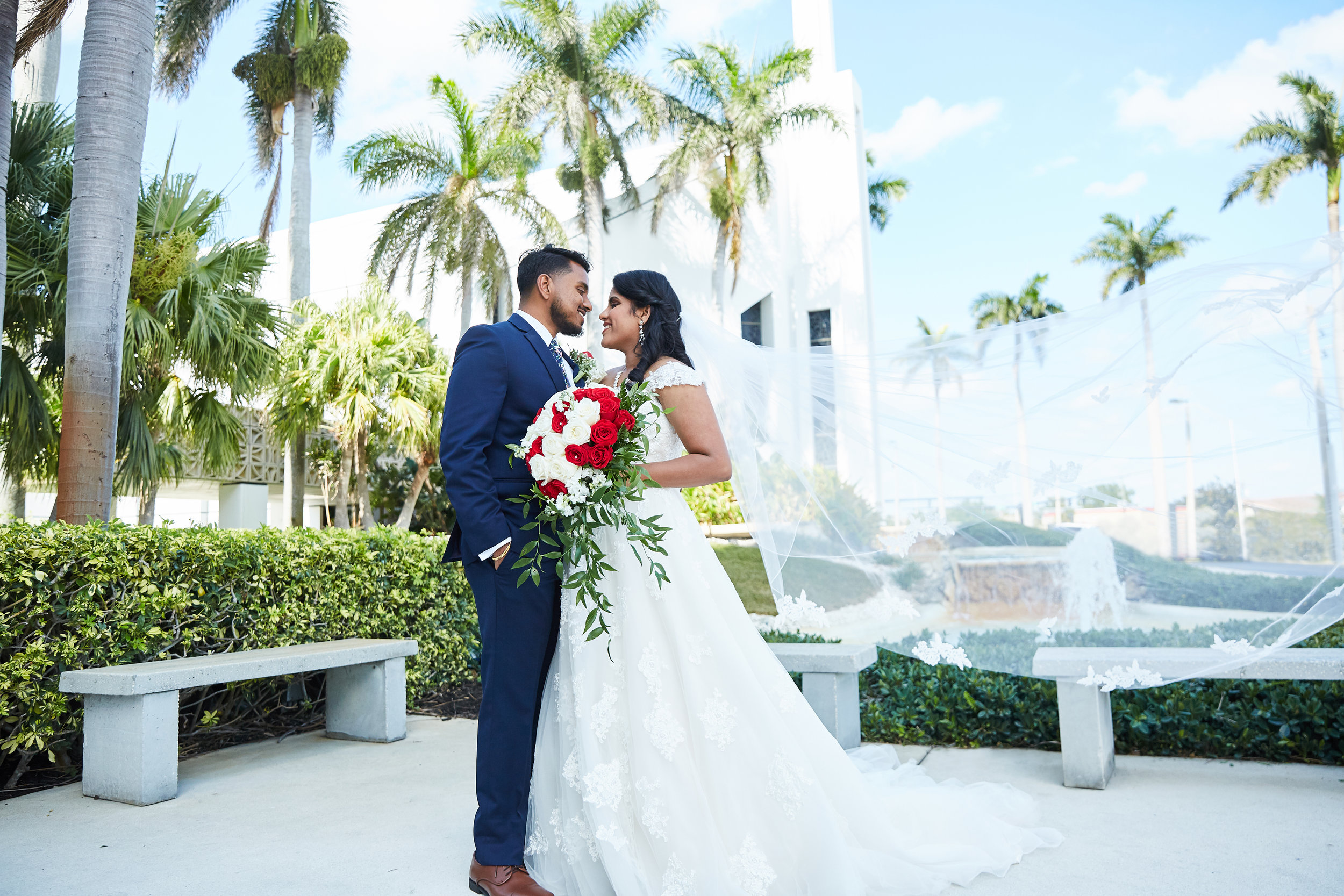 A wedding, engagement, love, newlywed image of a bride in her wedding dress -taken by Miami Wedding Photographer, Javier Edwards of El Roi Photo, in Miami, Florida, for a Miami Wedding