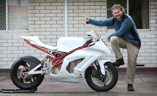 Dr Chris Jones and his EV Racing Bike