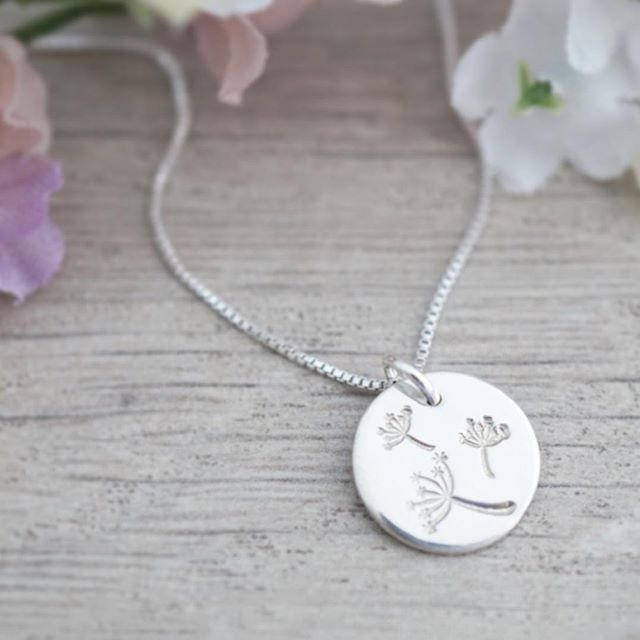 Make a wish!  These dainty sterling silver wish necklaces will be available on Etsy later this week... along with many more of my stamped designs! ******************** I realized that I only have about 20% of what I make and sell at markets listed in my shop. 🤦🏼‍♀️ I have a goal to get up to 100 listings by the end of the month, and then up to 150 by the end of October! 💪🏻 (and now that I've put it out there - I HAVE to make it happen! 😅)