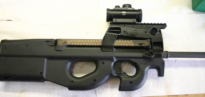The FN PS90, shown with an aftermarket triple rail