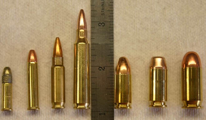 From left to right: 22LR, 22Mag, 5.7x28mm, 223 Remington, 9mm, 40S&W, 45ACP