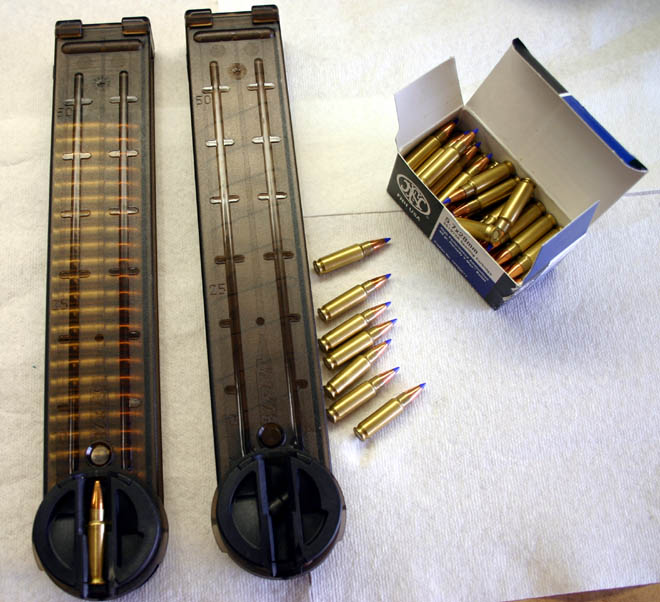 50-round PS90 magazines shown with Hornady-tipped SS197 ammo. Notice the first round is at a 90 degree angle to the others in the magazines