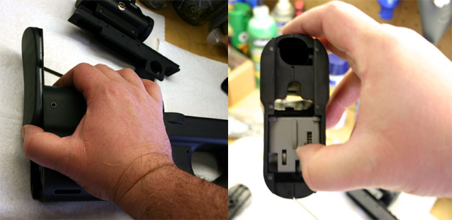 Sliding the buttplate off the gun reveals the Hammer Group inside the buttstock