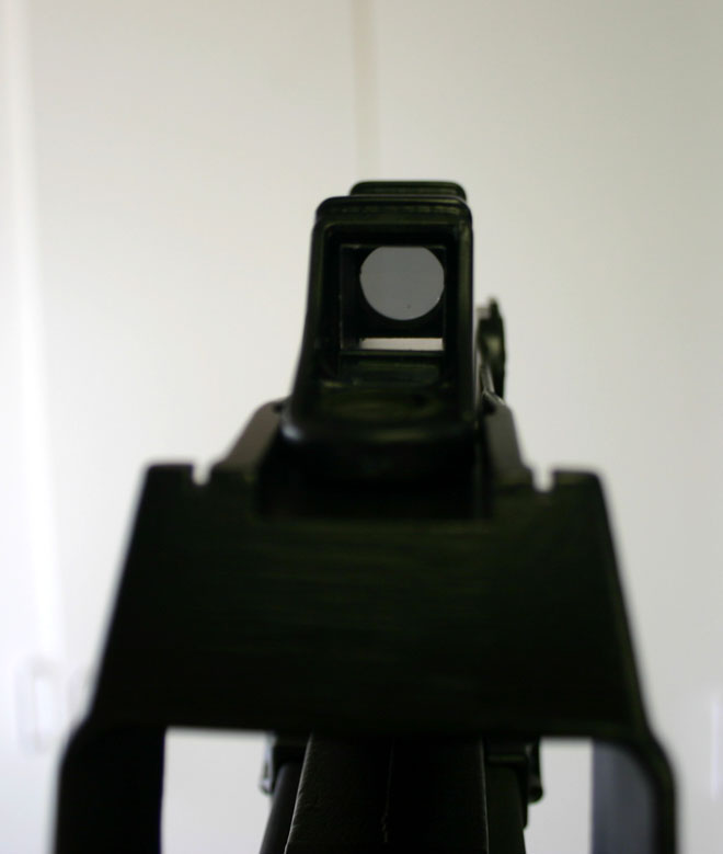 The stock reflex sight leaves quite a bit to be desired