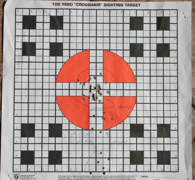 Notice the groups 'walking up' the center of the target as I zeroed the scope