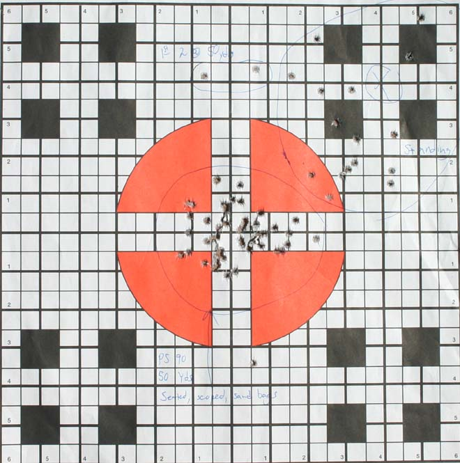 The group in the center at 50 yards is indicative of the PS90's ease of 'getting off a decent shot' without trying too hard