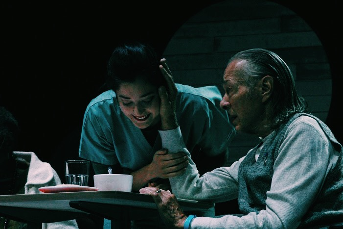 actors Justine Davis and James Williams in a scene set in a nursing home